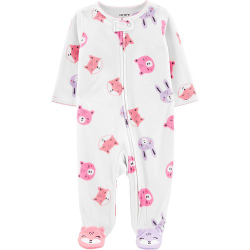 Baby Girl Carter's Woodland Creatures Fleece Zip-Up Sleep & Play