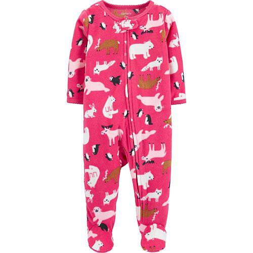 Baby Girl Carter's Zoo Animals Zip-Up Fleece Sleep & Play