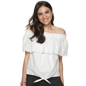 Women's Apt. 9® Off The Shoulder Tie Front Blouse