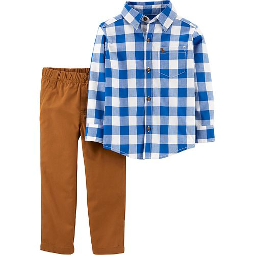 Baby Boy Carter's 2-Piece Checkered Button-Front Top & Canvas Pants Set