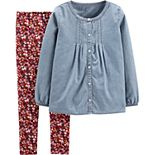 Girls 4-8 Carter's 2-Piece Chambray Button-Front Top & Floral Legging Set