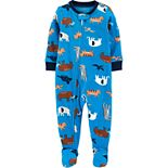 Toddler Boy Carter's 1-Piece Animals Fleece Footie PJs