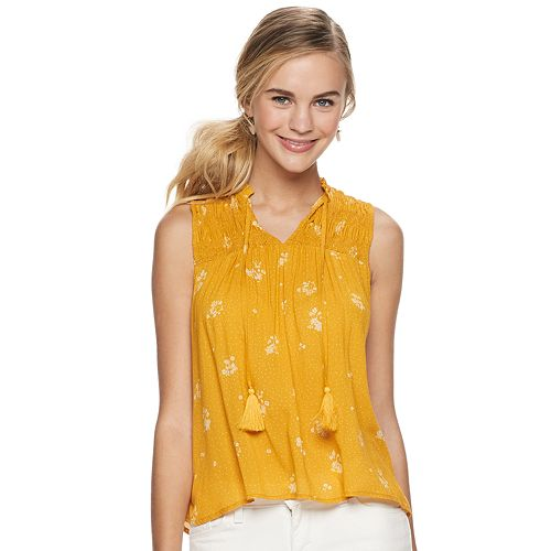 Juniors' Rewind Smocked Yoke Tassel Tank