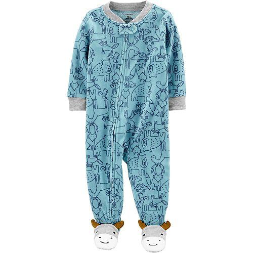 Toddler Boy Carter's 1-Piece Animal Fleece Footie PJs