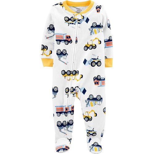 Toddler Boy Carter's 1-Piece Construction Truck Fleece Footie PJs