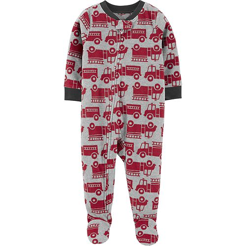 Toddler Boy Carter's 1-Piece Firetruck Fleece Footie PJs