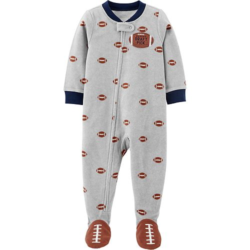 Toddler Boy Carter's 1-Piece Football Fleece Footie PJs