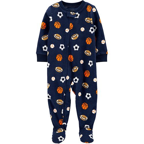 Toddler Boy Carter's 1-Piece Sports Fleece Footie PJs