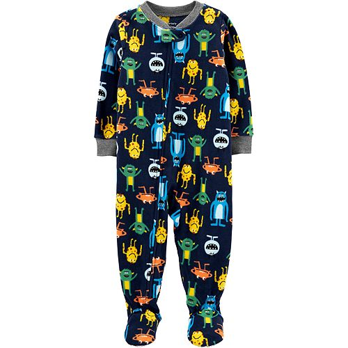 Toddler Boy Carter's 1-Piece Monster Fleece Footie PJs