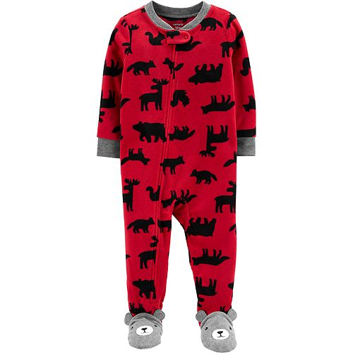 Toddler Boy Carter's 1-Piece Woodland Creatures Fleece Footie PJs