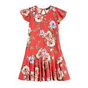 Girls' Three Pink Hearts Knit Godet Dress