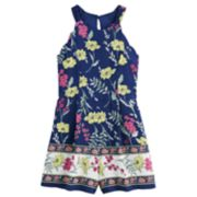 Girls 7-16 Three Pink Hearts Scalloped Floral Romper