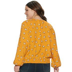 Juniors' Plus Size Mudd® Long Sleeve Smocked Hem Peasant Top
