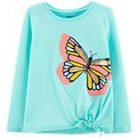 Girls 4-14 Carter's Glitter Butterfly Tie-Front Tee