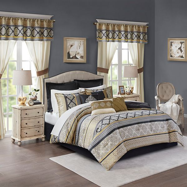 Madison Park Essentials Harriet 24 Piece Complete Bedroom Bedding Set