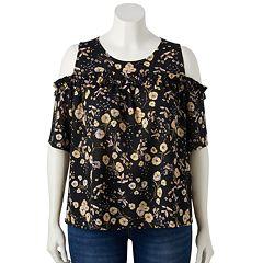 Plus Size LC Lauren Conrad Ruffle Yoke Cold-Shoulder Top
