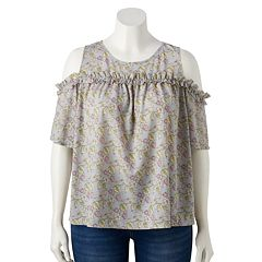 Plus Size LC Lauren Conrad Ruffle Yoke Cold-Shoulder Top