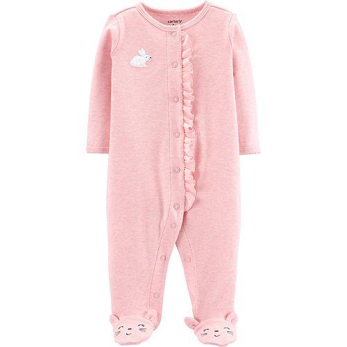 Baby Girl Carter's Bunny Rabbit Ruffled Sleep & Play
