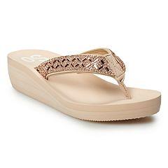 e3e9acbff005ec SO® Bling Wedge Women s Thong Sandals. Black Rose Gold White. sale.  12.99