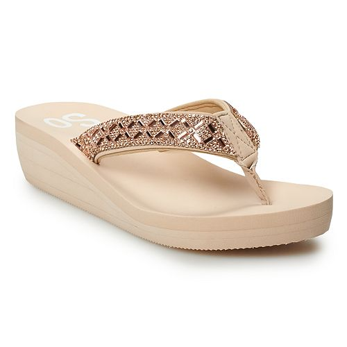 SO® Essie Women's Bling Wedge Thong Sandals