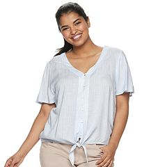 718ea74dd11 Juniors  Plus Size SO® Tie-Hem Shirt
