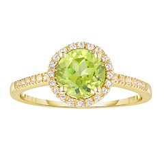 10k Gold Gemstone & White Topaz Halo Ring