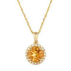 10k Gold Gemstone & White Topaz Halo Pendant Necklace