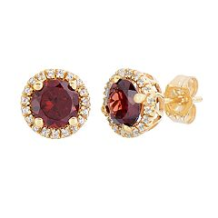 10k Gold Gemstone & White Topaz Halo Stud Earrings