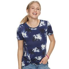 20b5c1b74afd0f Juniors' Cloud Chaser Knot Front Short Sleeve Top