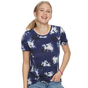 Juniors' Cloud Chaser Knot Front Short Sleeve Top