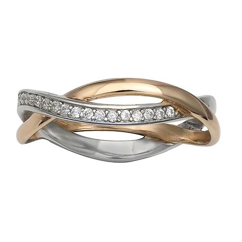PRIMROSE Two-Tone Cubic Zirconia Intertwined Band Ring