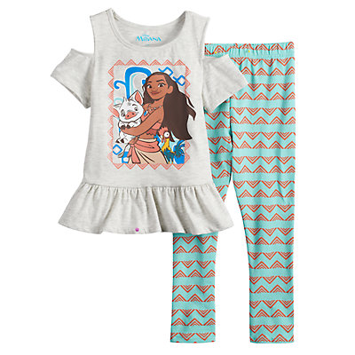 Disney's Moana Girls 4-6x Cold-Shoulder Peplum Top & Capri Leggings Set