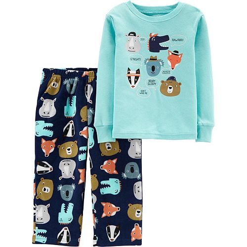 Toddler Boy Carter's 2-Piece Animals Snug Fit Cotton & Fleece PJs