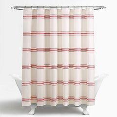 Lush Decor Farmhouse Stripe Shower Curtain Blue Red