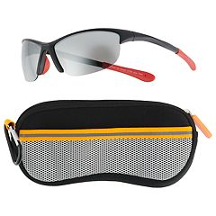 Boys 4-20 Pan Oceanic Black & Red Sunglasses With Case