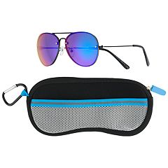 Boys 4-20 Pan Oceanic Colored Aviator Sunglasses & Case