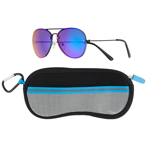 Boys 4-20 Pan Oceanic Colored Aviator Sunglasses & Case