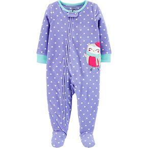 Toddler Girl Carter's 1-Piece Owl Fleece Footie PJs