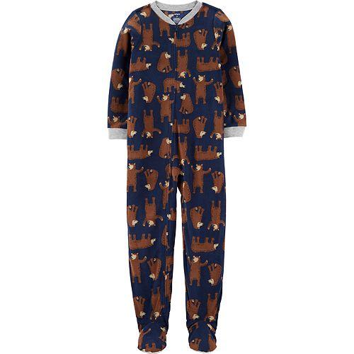 Boys 4-8 Carter's Print Microfleece Footed Pajamas