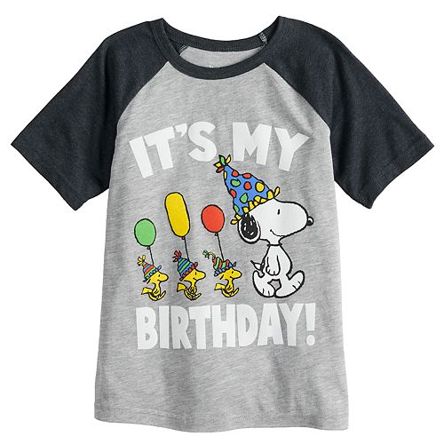 Boys 4 12 Jumping BeansR Peanuts Snoopy Its My Birthday Raglan Graphic Tee