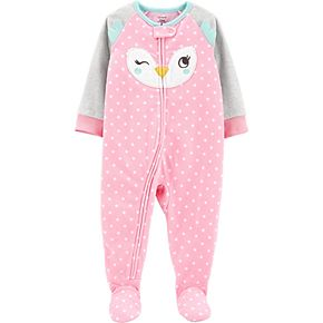 Toddler Girl Carter's 1-Piece Owl Fleece Footie PJs