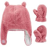 Baby Girl Carter's Sherpa Hat & Mittens Set