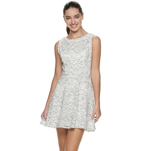 Juniors' Lily Rose Sleeveless Lace Fit & Flare Dress