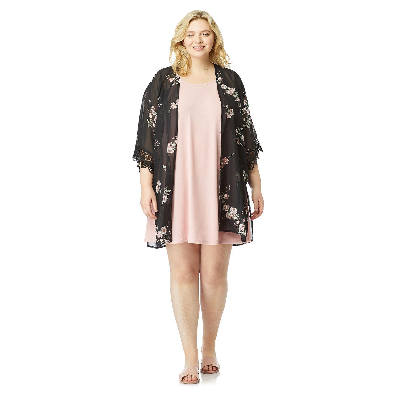 Juniors' Plus Size WallFlower Solid Dress & Printed Kimono Set