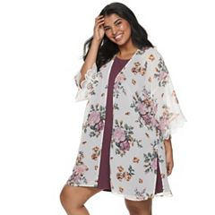 49fbbed1c00 Juniors  Plus Size WallFlower Solid Dress   Printed Kimono Set