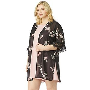 Juniors' Plus Size WallFlower Solid Dress & Printed Kimono Set