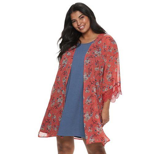 Juniors\' Plus Size WallFlower Solid Dress & Printed Kimono Set