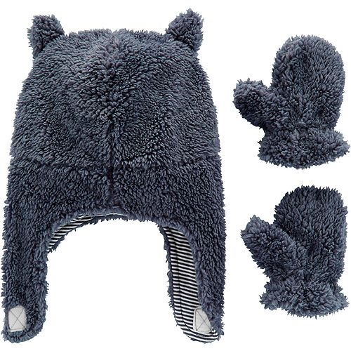 Baby Boy Carter's Sherpa Hat & Mittens Set