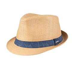 2528d072 Men's Dockers Textured Straw Fedora with Chambray Band