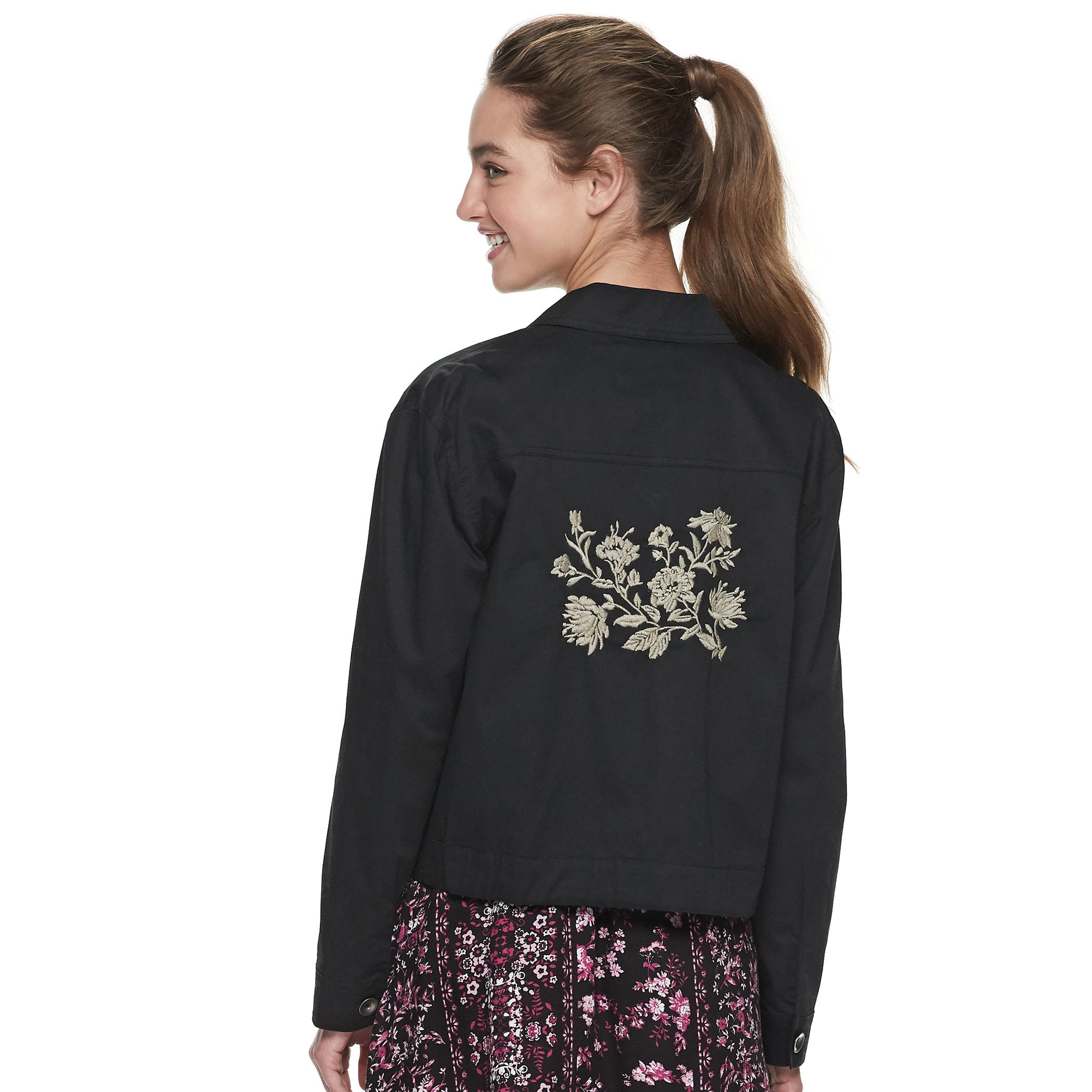 Juniors' American Rag Embroidered Cropped Jacket